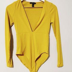 Yellow Plunge Neckline Bodysuit x Forever 21
